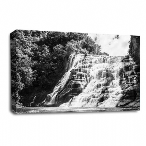Waterfall Wall Art Picture Rocky Forest Wood White Grey Black Print